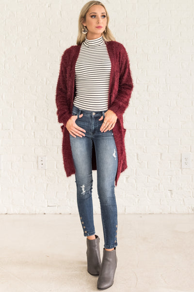 Burgundy Red Cute Best Long Cardigans Fuzzy Pockets