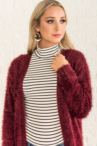 Burgundy Red Longline Long Duster Warm Cardigans for Women