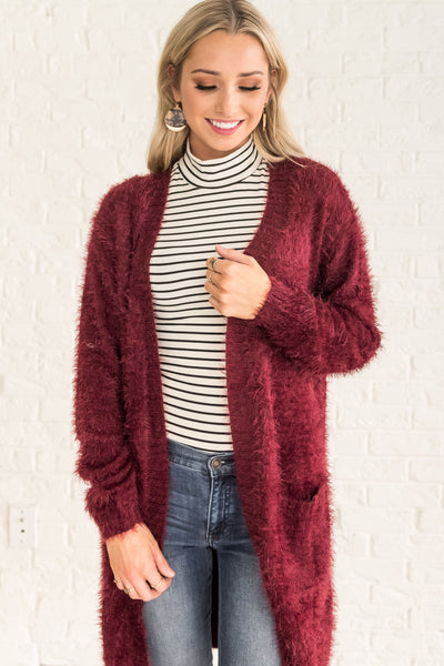 Burgundy Red Womens Long Fuzzy Cardigans for Christmas Party