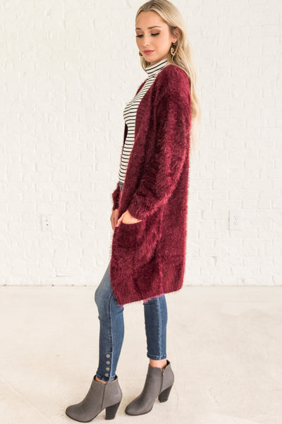 Burgundy Red Cute Fuzzy Cardigan with Pockets from Affordable Online Boutique