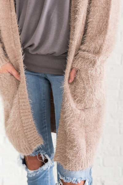 Camel Beige Brown Longline Duster Long Cardigans Fall Winter Christmas
