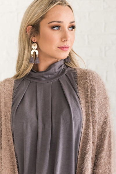 Camel Beige Brown Fuzzy Long Cardigans from Affordable Online Womens Fashion Boutique