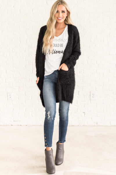 Black Cute High Quality Winter Long Cardigan Fuzzy Soft Teddy