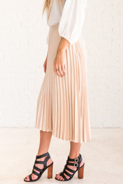 Cream Pleated  Midi Skirt with Silky Fabric for New Years Party