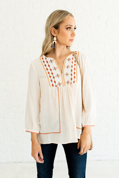 Cream Embroidered Peasant Blouses and Tops Affordable Online Boutique