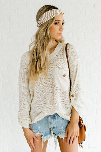 Cream Knit Sweaters with Satin Pockets and Antique Buttons