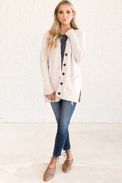 Cream Button Up Cute Boutique Cardigans with Pockets and Long Sleeves