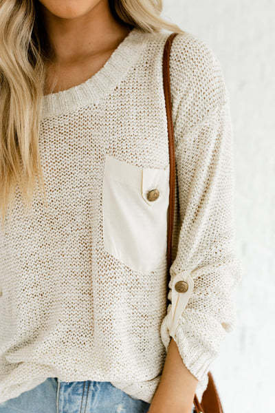 Cream Button Knit Sweaters Affordable Online Boutique for Women