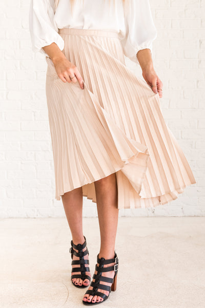 Cream Sheen Metallic Cute Pleated Midi Skirts for Holiday Party