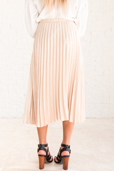 Cream Soft Cute Boutique Pleated Skirt with Midi Length