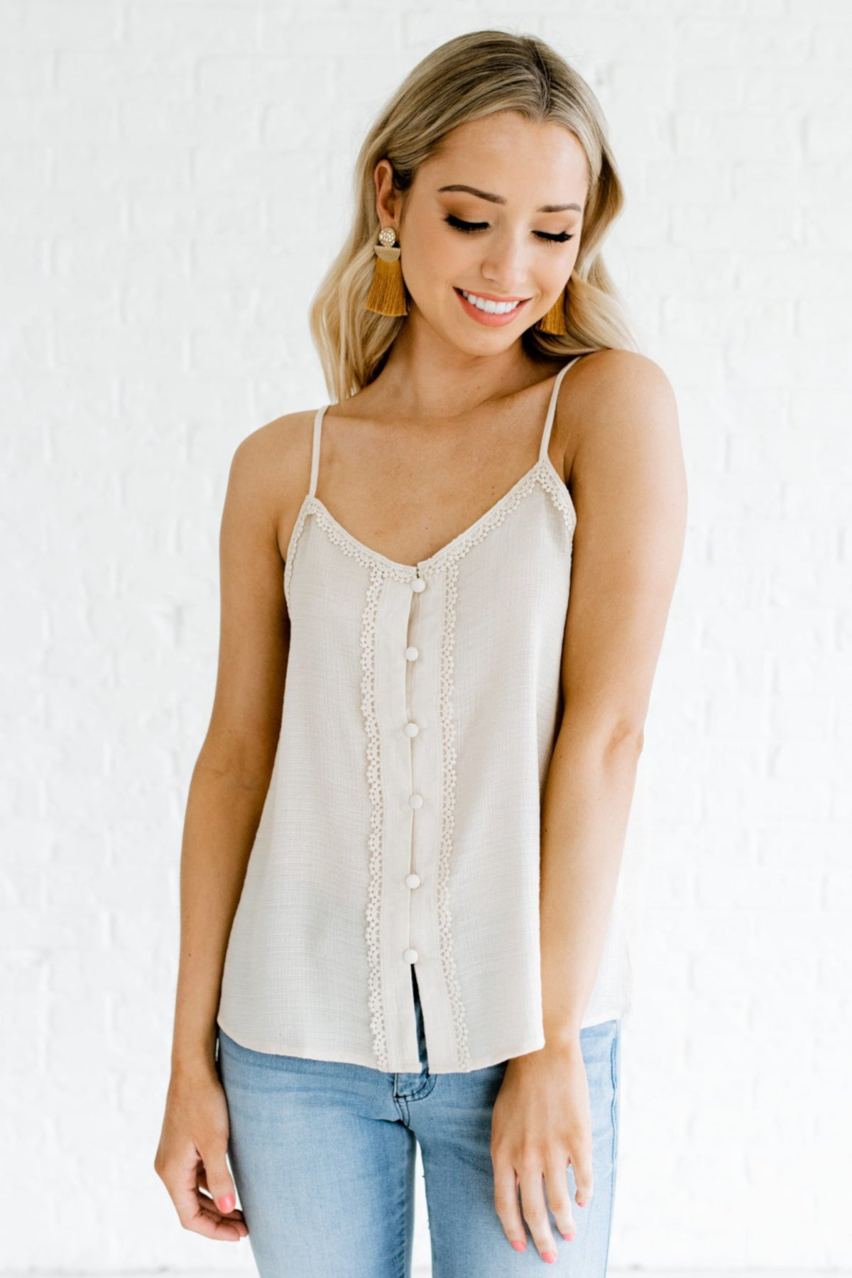 Cream Crochet Trim Button Up Tank Tops Affordable Online Boutique