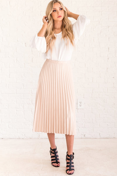 Cream Pleated Midi Skirts from Affordable Online Boutique