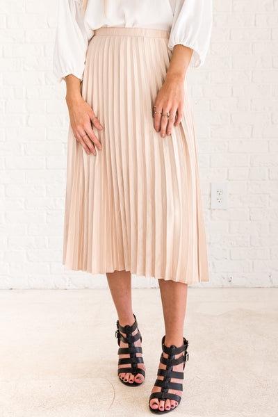 Cream Pleated Midi Skirt with Soft Silky Material and Hidden Zipper