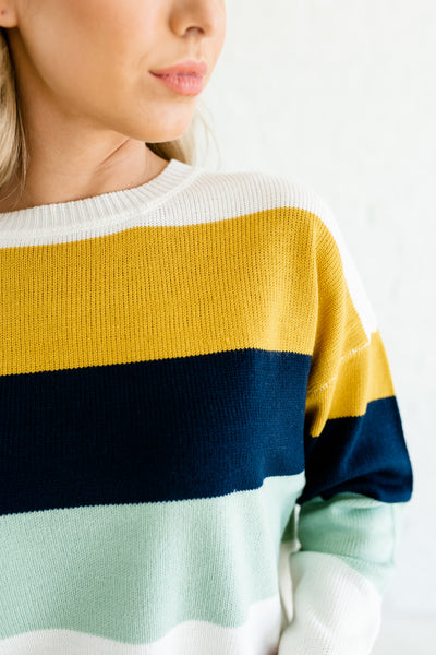 Yellow Blue Pink White Color Block Knit Sweaters Affordable Online Boutique Fashion
