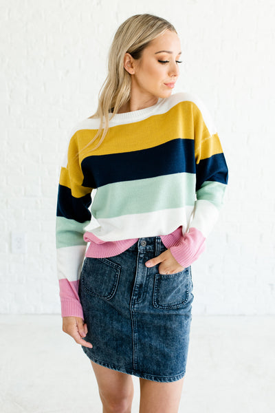 Mustard Yellow Pink Mint Navy White Color Block Striped Sweaters Boutique