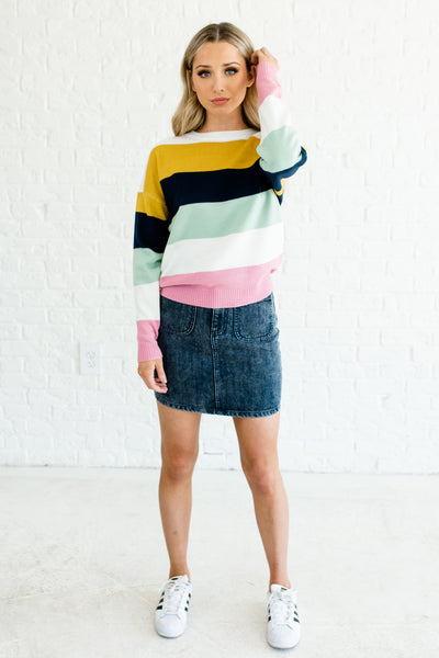 Mustard Yellow Navy Mint Pink White Color Block Striped Sweaters Boutique
