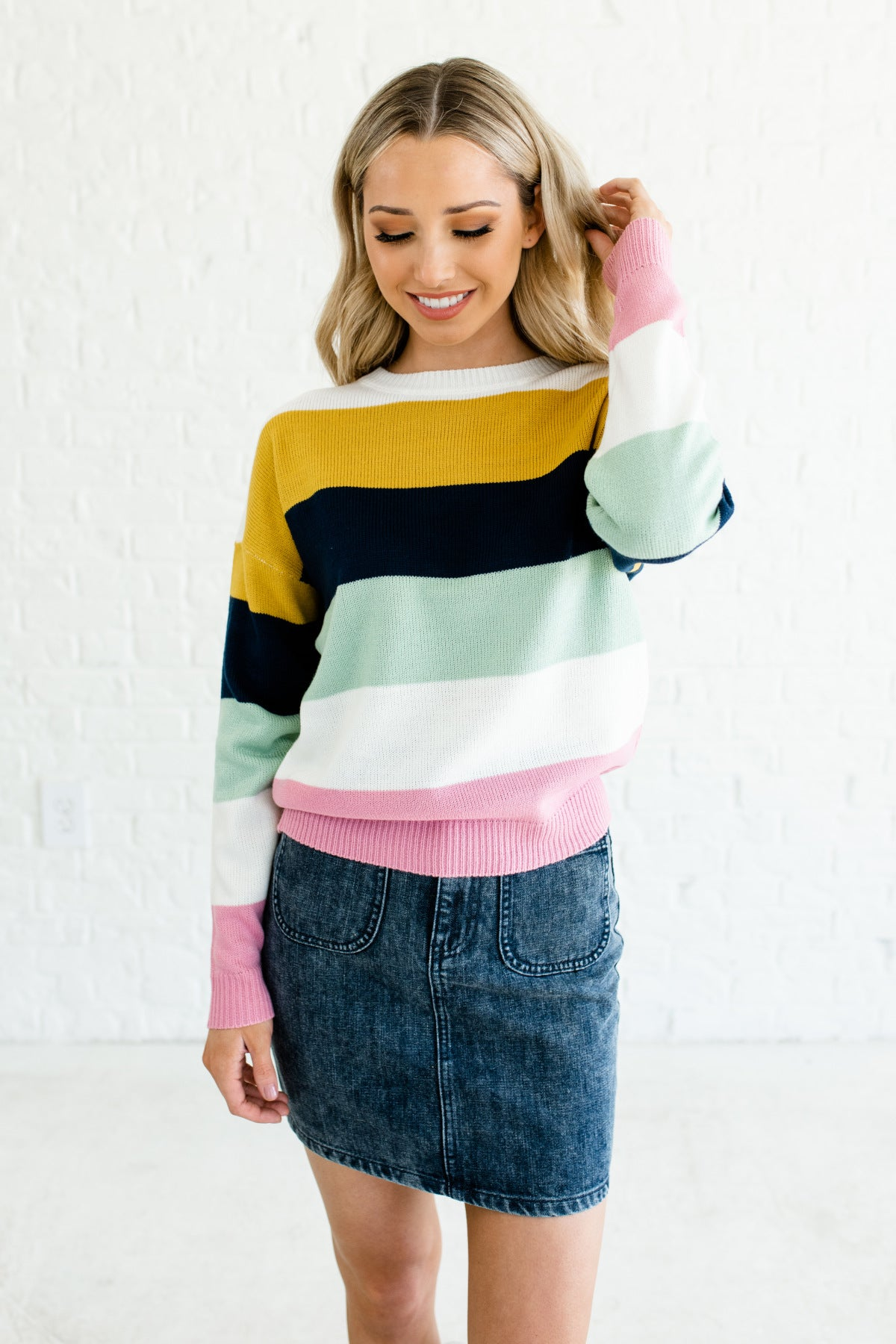 Mustard Yellow White Navy Mint Pink Color Block Boutique Sweaters