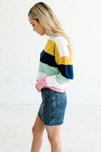 Mustard Yellow White Mint Navy Color Block Striped Sweaters for Women