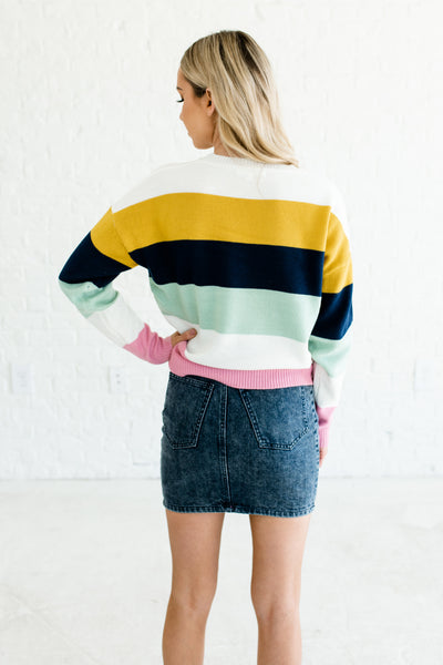 Mustard Navy Mint White Pink Color Block Sweaters Affordable Online Boutique