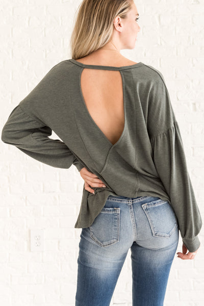 Dark Sage Olive Green Wrap Open Back Cut Out Tops for Fall