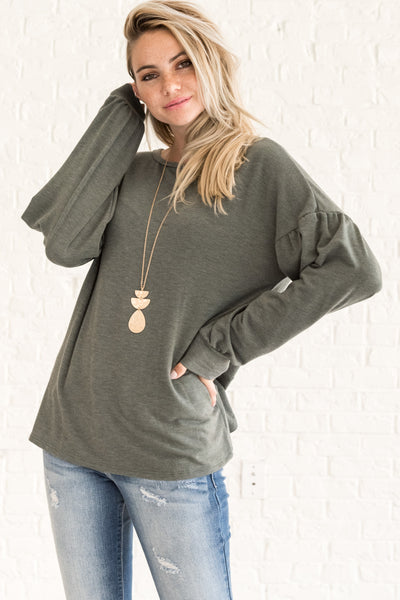 Sage Olive Green Cute Long Sleeve Cut Out Open Back Puffy Sleeve Tops