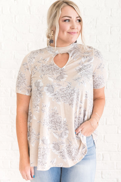 Beige Brown Floral Top for Women