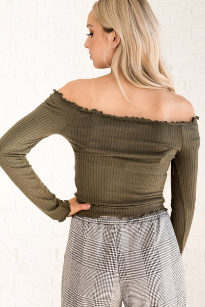 Olive Green Cute Off the Shoulder Lettuce Edge Tops for Fall