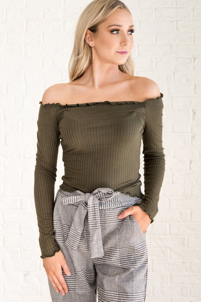 Olive Green Off the Shoulder Tight Ribbed Lettuce Edge Top