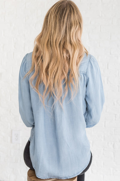 Light Blue Chambray Button Up Boyfriend Fit Shirts for Women