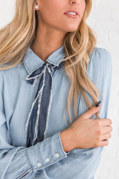 Light Blue Chambray Button Up Shirt with Frayed Necktie Detail