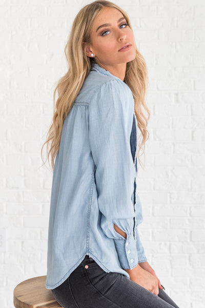 Light Blue Denim Chambray Shirt from Affordable Online Boutique