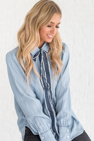 Denim Light Blue Button Up Chambray Collared Shirt with Tie Detail
