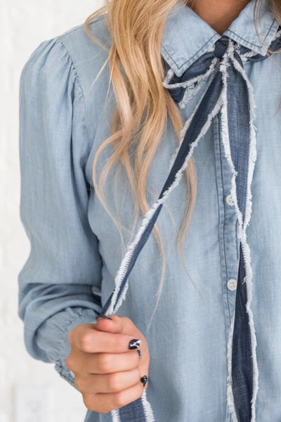 Light Wash Denim Blue Chambray Button Up Nursing Friendly Shirts with Included  Neck Tie Detail