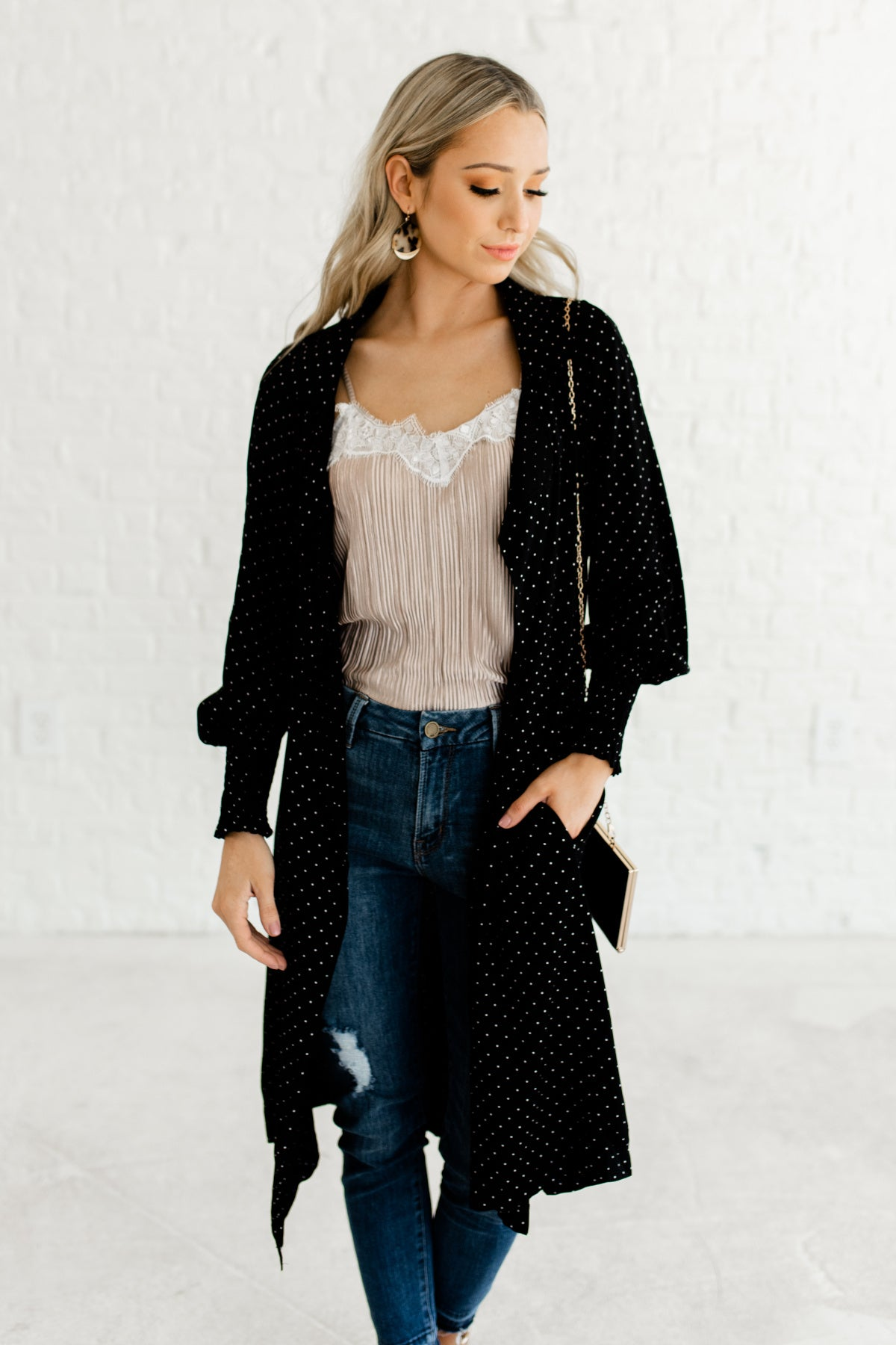 Black Polka Dot Longline Long Length Duster Kimono with Waterfall Front and Bishop Sleeves