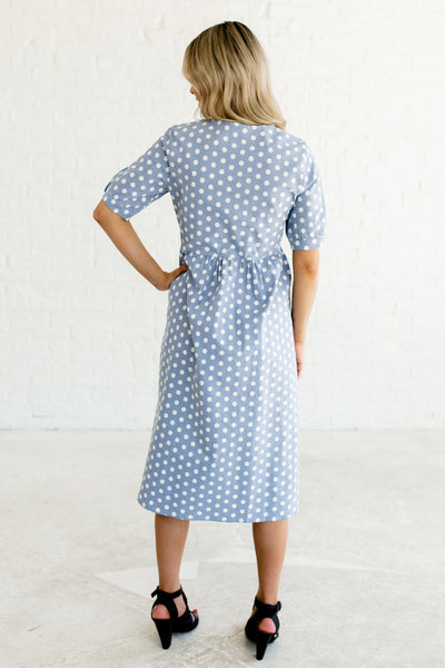 Steel Light Blue Button Up Midi Length Polka Dot Boutique Dresses with Pockets