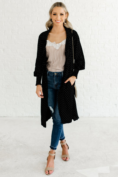 Black Polka Dot Print Cute Boutique Duster Kimonos with Dramatic Bishop Sleeves and Pockets