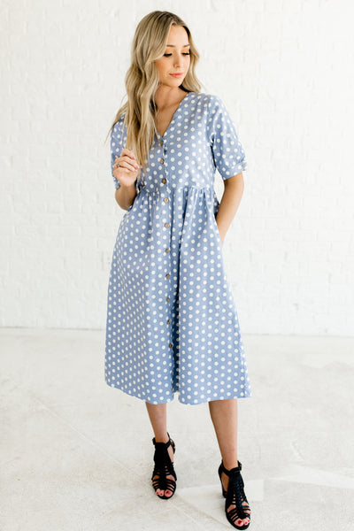 Steel Blue Polka Dot Print Wooden Button Up Front Midi Dresses with Pockets