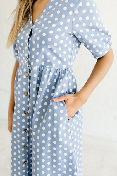 Steel Blue Polka Dot Print Cute Nursing Friendly Button Up Midi Dresses with Pockets