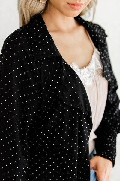 Black Polka Dot Print Cute Longline Duster Kimono Lightweight Cardigans with Puffy Bishop Sleeves