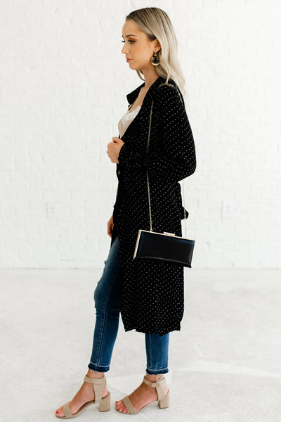 Black Waterfall Front Longline Long Duster Kimono with Pockets Bishop Sleeves Polka Dot Print