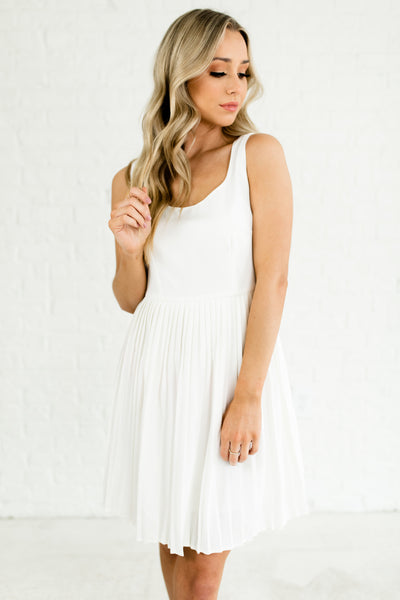 White Pleated Cute Mini Dresses with Split Sleeves and Bust Seams