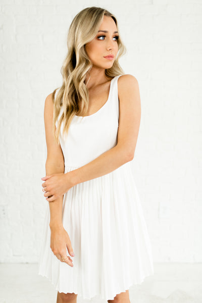 White Pleated Mini Dresses Affordable Online Boutique Fashion for Women