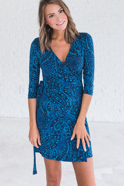 Navy Blue Paisley Graduation Semi Formal Party Wrap Dresses for Women