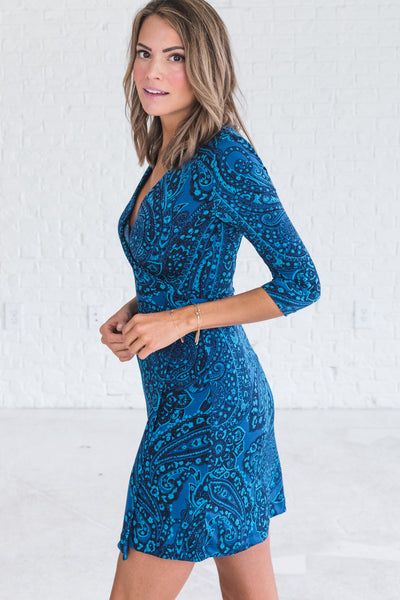 Navy Blue Nursing Friendly Wrap Dresses from Affordable Online Boutique