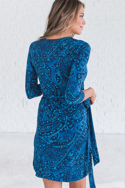 Navy and Blue Cute Eastern Paisley Midi Length Wrap Dresses