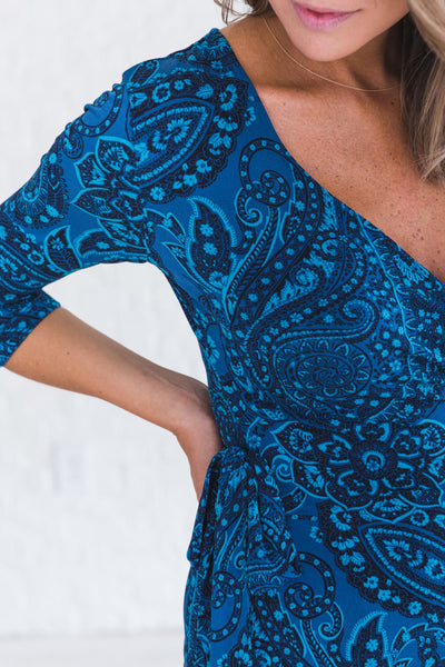 Navy Blue Cute Wrap Dress with Paisley Print and Tie Front Detail