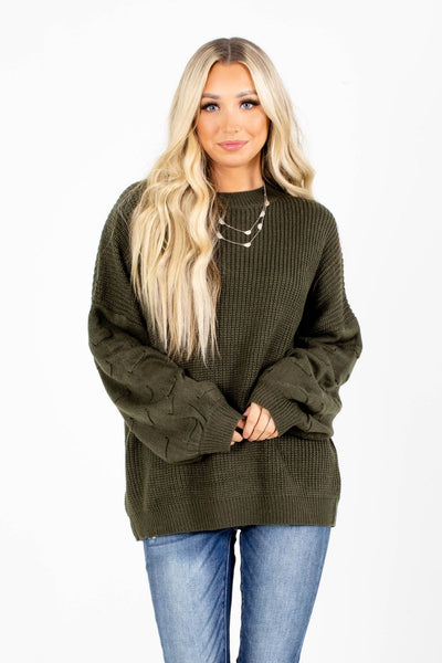 Green Textured Sleeve Boutique Sweaters for Women