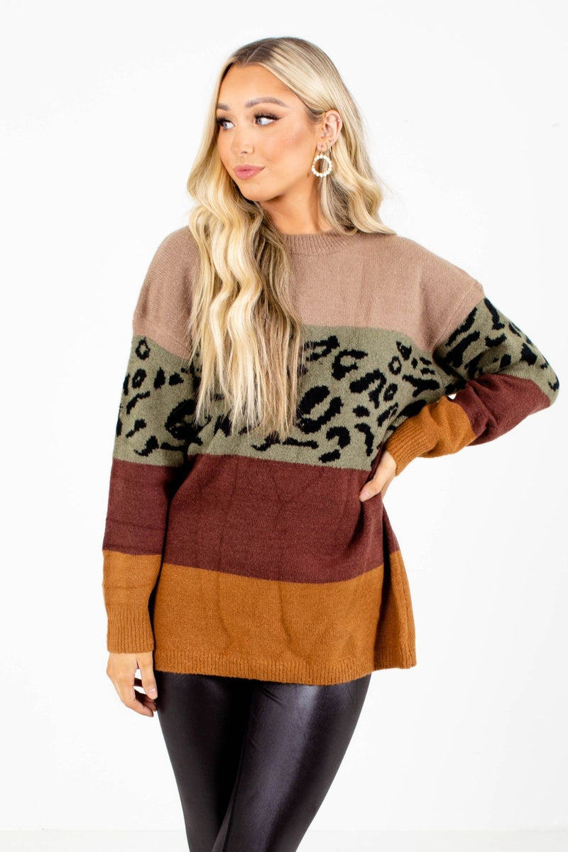 Get Loud Olive Color Block Sweater