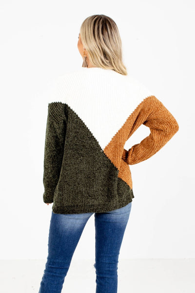 Women's Green Chenille Knit Material Boutique Sweater