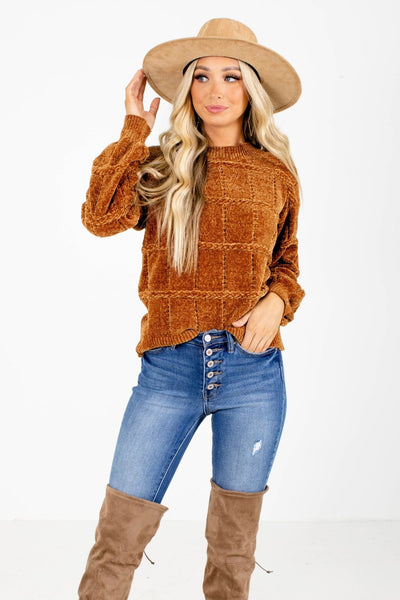 Brown Chenille Knit Material Boutique Sweaters for Women